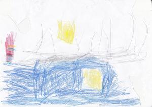 Barnteckning i blått illustrerar vikten av skapande enligt Young-ha Kim.