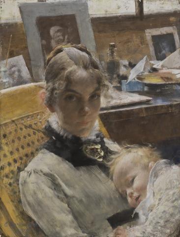 Carl Larsson: Ateljéidyll. Konstnärens hustru med dottern Suzanne. NMB 191