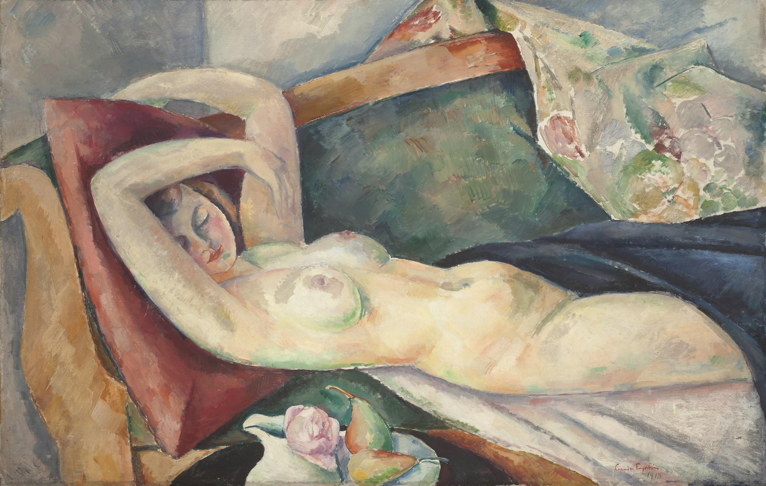 Leander Engström, Liggande modell med päron och ros, 1913. Olja på duk. Foto: Lars Engelhardt